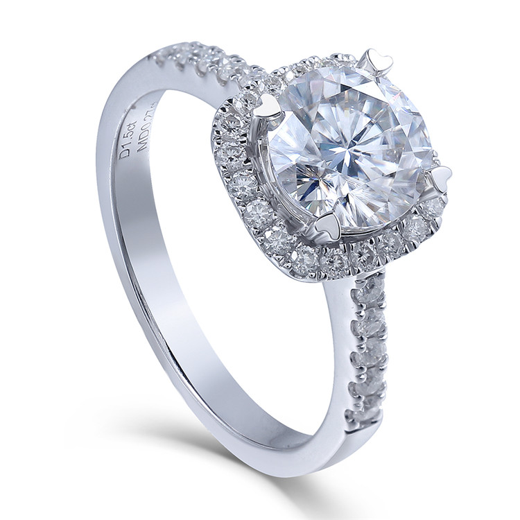 14K 585 White Gold 1.5 Carat Diameter 7.5mm Lab Grown Moissanite Diamond Engagement Wedding Ring with Accents For Women transgems 18k white gold 0 5 carat 5mm lab grown moissanite diamond solitaire pendant necklace for women jewelry wedding