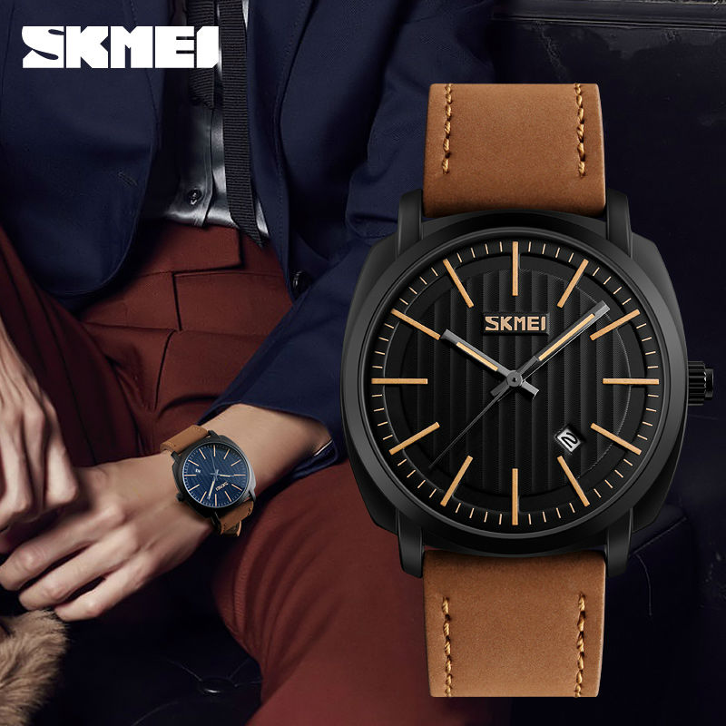 SKMEI Brand Mens Fashion Casual Watches Men Waterproof Leather Men Quartz Watch Man Military Wristwatch Relogio Masculino 9169 new 2016 brand skmei watches men fashion casual quartz watch man waterproof sports military leather strap wrist watches