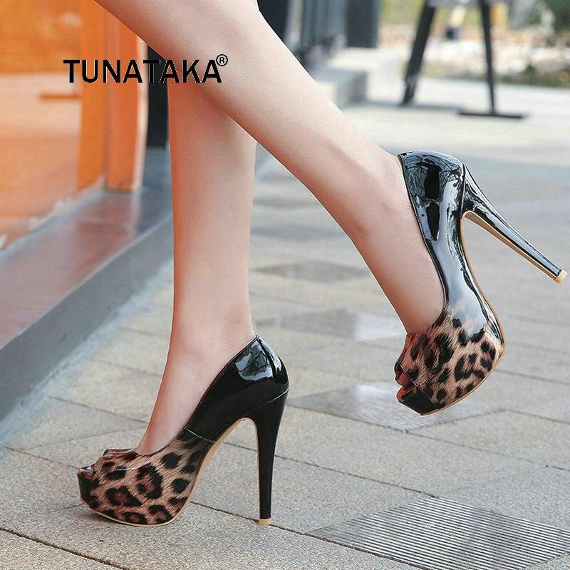 bb1243d26e6 Bombas marrón Thin Perezosos Zapatos Plataforma Azul Peep Negro Miced Heel  Marrón Toe Leopard Mujeres Sexy ...