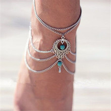 Fashion Women  Boho Beach Beads Tassel Chain Ankle Bracelet Barefoot Sandal Beach Foot Jewelry