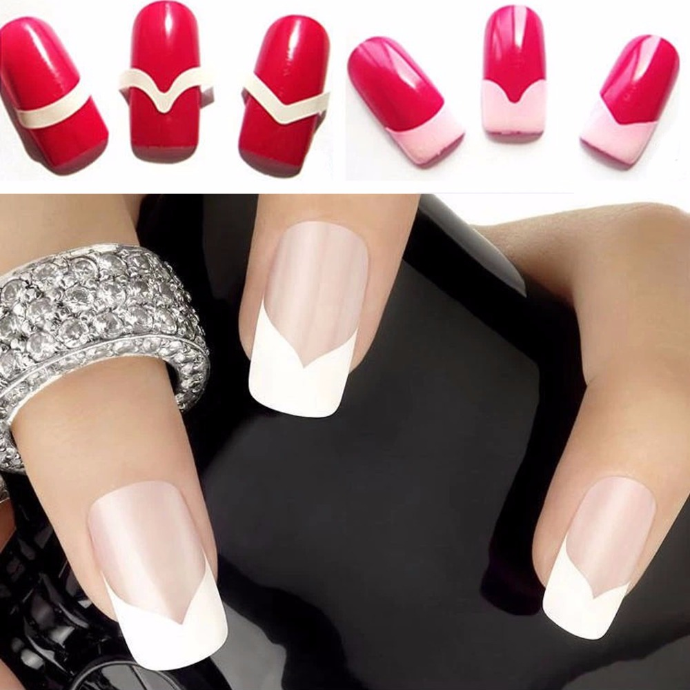 ᗖCandy Lover 3pcs/lot French Manicure Nail Art Tips Guide Stickers ...