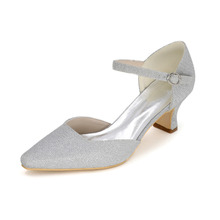 Fashion woman pointed toe D'orsay glitter low medium heel shoes wedding party prom cocktail shoes red gold silver blue black