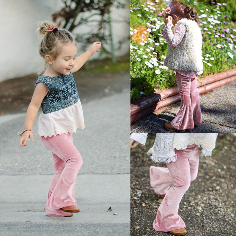 6-7 Years, Red Toddler Baby Girls Kids Boho Floral Bell Bottom Flare Pants 2-6Y