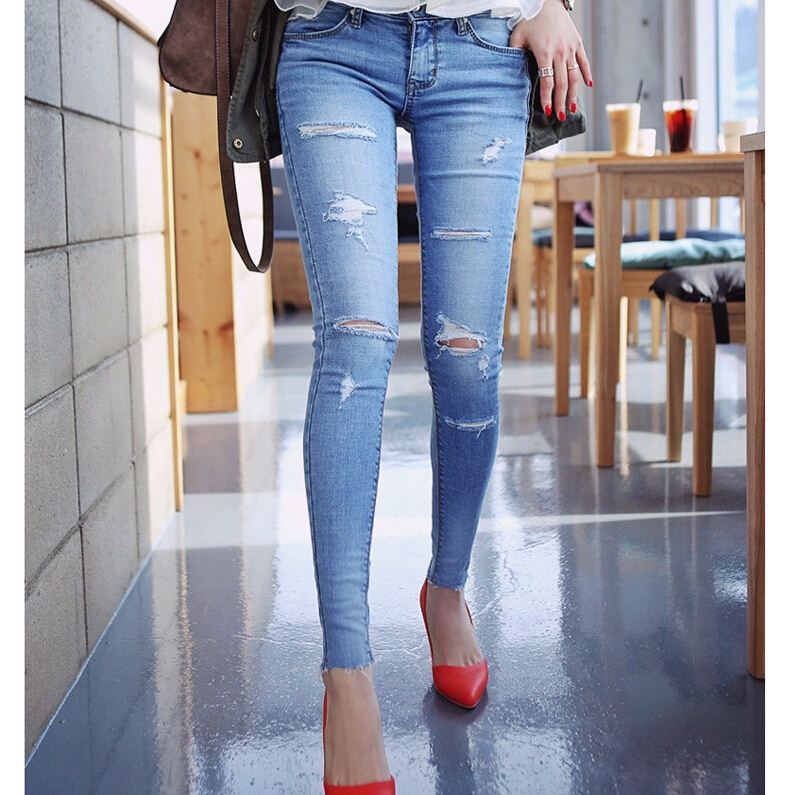 Aliexpress.com : Buy New Skinny Jeans Women Ripped Jeans Capris ...