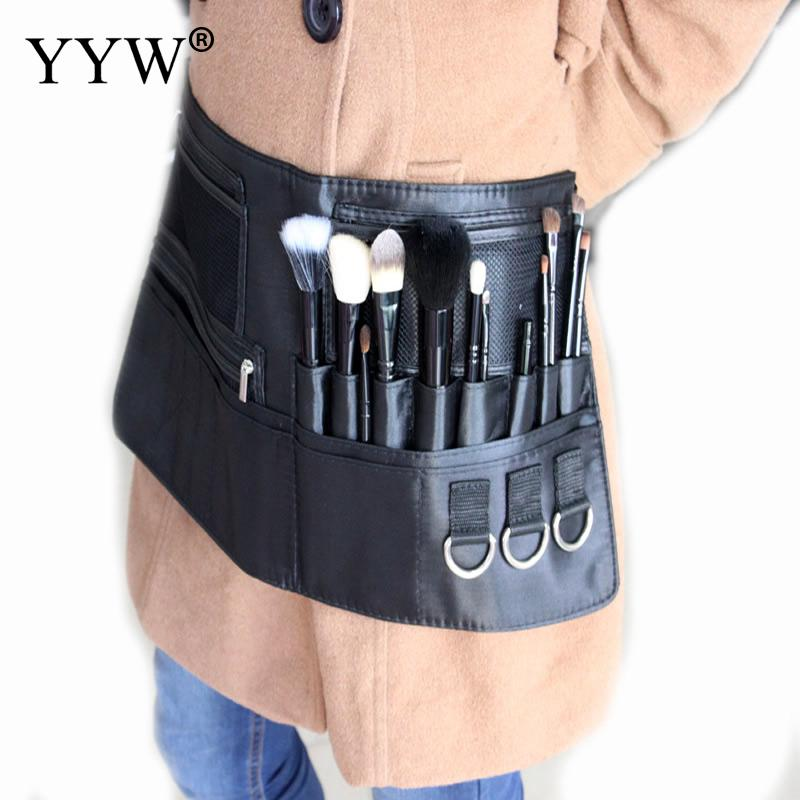 Professional Makeup Brush Apron With Artist Belt Strap PU Leather Make Up Brush Bag Holder Professional Cosmetic Bags Case Black