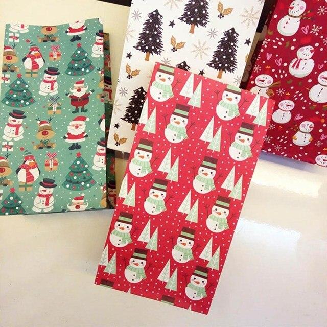Saco de Papel de Feliz Natal do floco de neve Do Boneco de neve Da Árvore de Natal Do Bolinho Comida Saco de Embalagem do Presente da Festa de Aniversário Estande Favor Sacos Do Presente