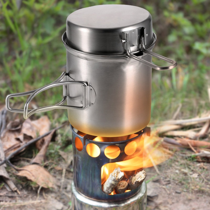 Outdoor Cookware Stainless Steel Folding Camping Set Wood Stove Cooking Pot