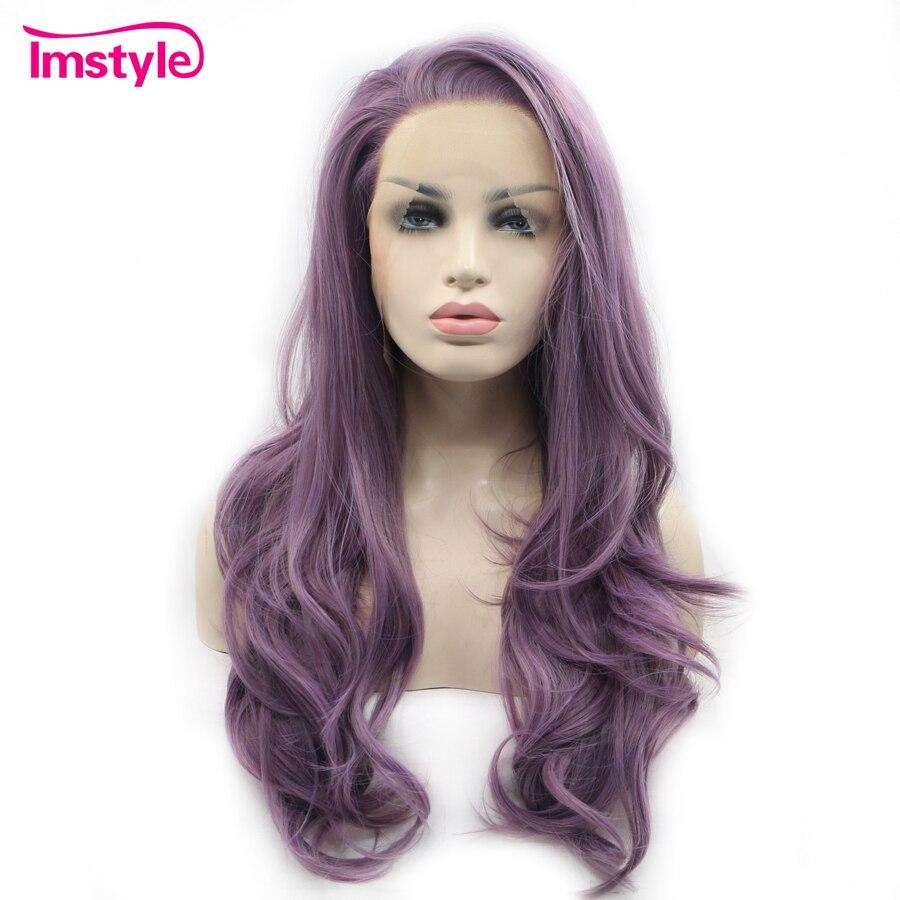 Imstyle Синтетические волосы на кружеве парики длинные волнистые фиолетовый парики для Для женщин термостойкие волокна синтетические кружева...