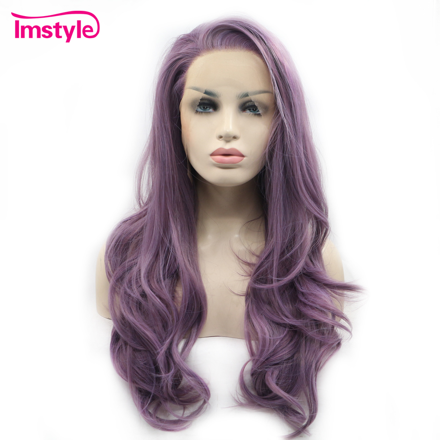 Imstyle Lace Front Wigs Long Wavy Purple Wigs For Women Heat Resistant Fiber Synthetic Lace Wig Glueless Natural Hair Cosplay