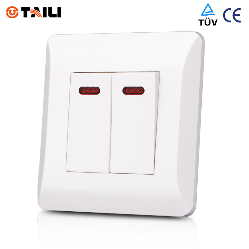 Wall Switch Panel 2 Gang 2 Way interrupteur Light Switch
