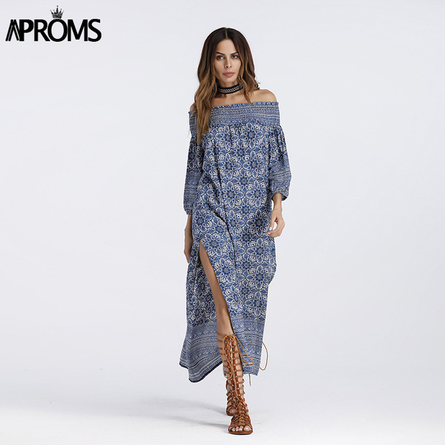 f540b6113f Aproms Blue Floral Print Off Shoulder Dress Boho Elegant 3/4 Sleeve Side  Split Sundress Ladies Casual Summer Maxi Dress Vestidos
