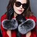 Luva de pele real mulheres vestido novo show de outono inverno chegou alta grade moda couro macio grosso quente real fox fur luvas mittens