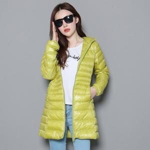 Image 5 - Mujer otoño Chaqueta larga acolchada con capucha pato blanco abajo mujer sobretodo Ultra ligero Delgado sólido chaquetas abrigo Parkas portátiles