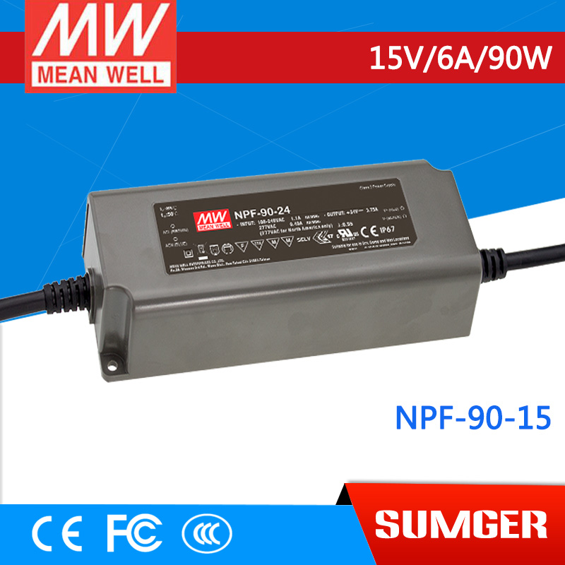 1MEAN WELL original NPF-90-15 15V 6A meanwell NPF-90 15V 90W Single Output LED Switching Power Supply [freeshipping 1pcs] mean well original rs 25 15 15v 1 7a meanwell rs 25 25 5w single output switching power supply