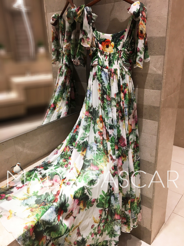 women's Boho style long dress women Of shoulder beach summer dresses Floral print Vintage maxi dress silk 3
