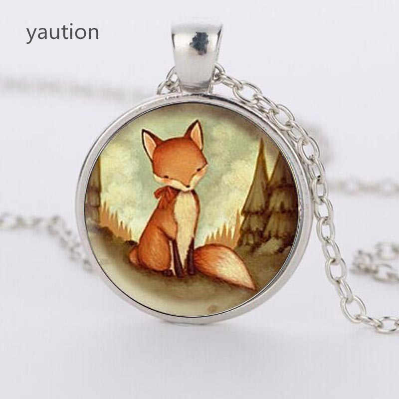 Crystal Dome Jewelry Wholesale Hot Fox Necklace Creature Forest Watercolor Art Pendant necklace for women