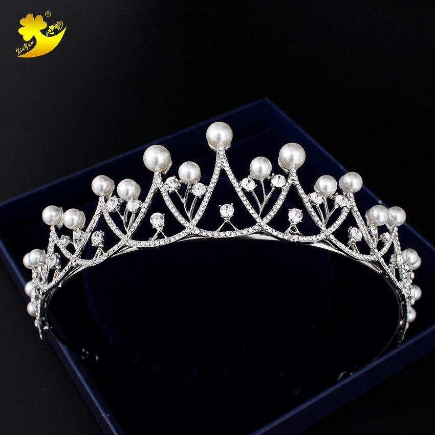 Xinyun Imitation Pearls Tiara Classic Bridal Hair Accessories Hot Products Coroa De Noiva Women Crown On The Head Lady Headwear