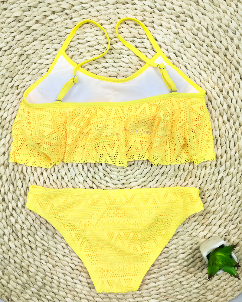 Push Up New 2018 Simple Solid Color Bikini Set Sexy Low Waist Beach Swimwear Women Lace Up Flounce Summer Brazilian Swimsuit 11
