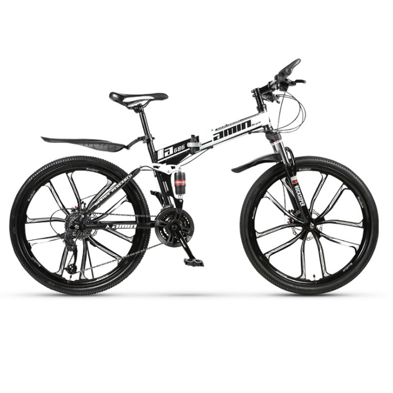 21 Variable speed mountain <font><b>bike</b></font> 24 and 26 <font><b>inch</b></font> folding mountain bicycle double damping disc brakes <font><b>10</b></font> knife <font><b>wheel</b></font> mountain <font><b>bike</b></font> image