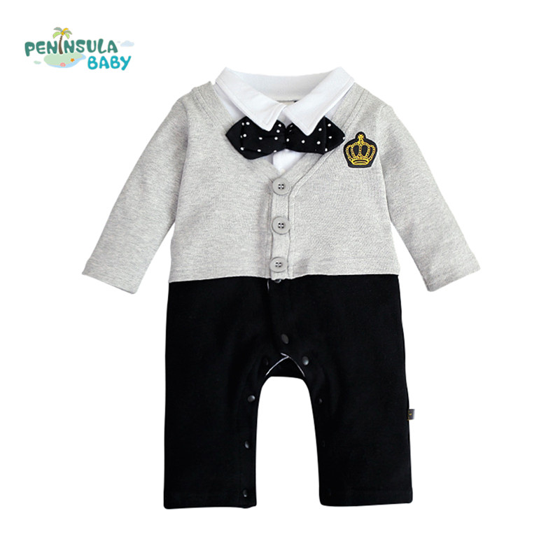 16f6128d3415 High Quality One Pieces Baby Boy Gentleman Romper Long Sleeve Tie ...