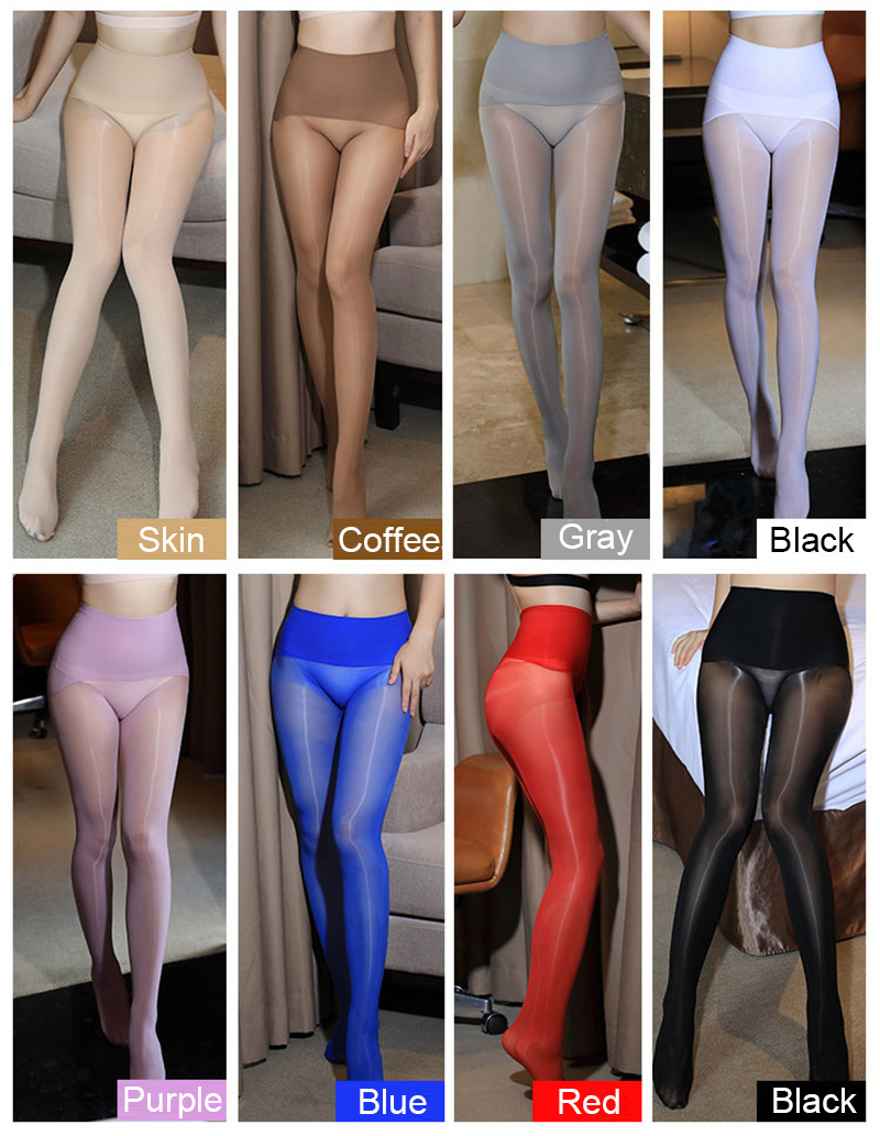 Smoothly Magic High Waist Pantyhose, Shiny Than Oil Glossy 8D Ultrathin Seamless Crotch Tights Transparent 12