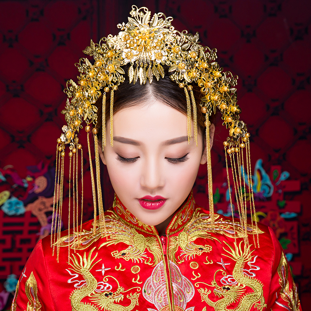 Traditional Gold Color Tassel Headpiece Bridal Frontlet Hair Stick Chinese Style Floral Headdress Hair Jewelry Accessories Gifts цена