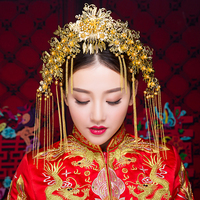 Traditional Gold Color Tassel Headpiece Bridal Frontlet Hair Stick Chinese Style Floral Headdress Hair Jewelry Accessories Gifts