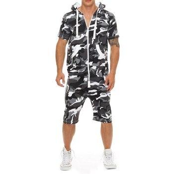 Casual chándal Jumpsuit hombres verano remera con capucha de mangas cortas sudadera hombres overoles moda camuflaje Sportwear pantalones cortos Romper
