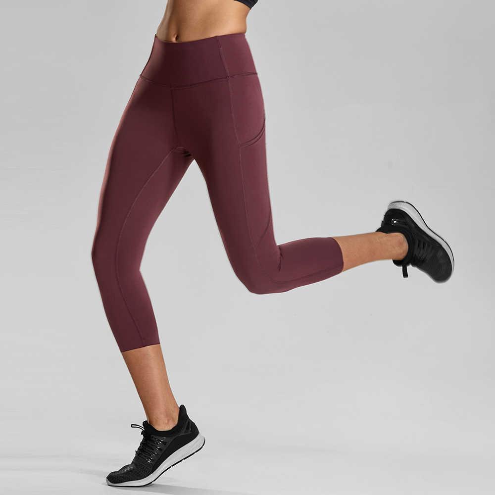 1b5dc0cef56b1 ... CRZ YOGA Women's Naked Feeling High Waist Capri Tights Sports Leggings  with Side Pockets - ...