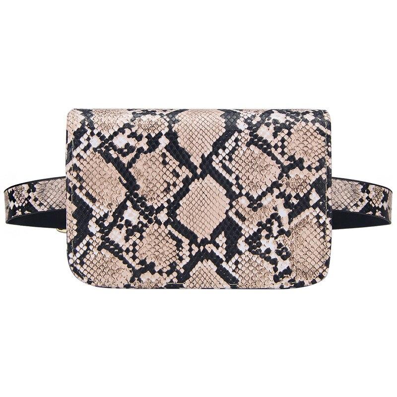 Snake Skin Women Waist Bag Serpentine Design Belt Bags Ladies PU Leather Fanny Packs Female Money Bum Bag Travel Chest Pack