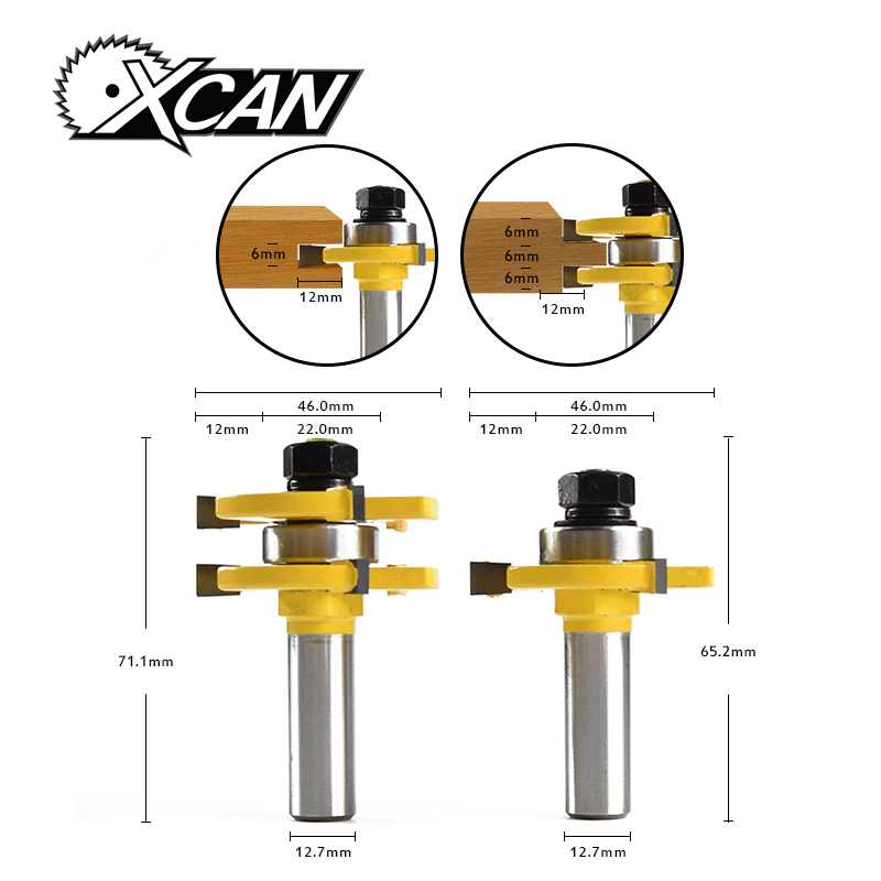 XCAN 2Pcs Matched Tongue & Groove Router Bit 1/4 Stock 1/2 Shank 3 Teeth T-shape Wood For Woodworking Tool цена