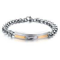 Top Grade Stainless Steel Crystal Couple Bracelet 5