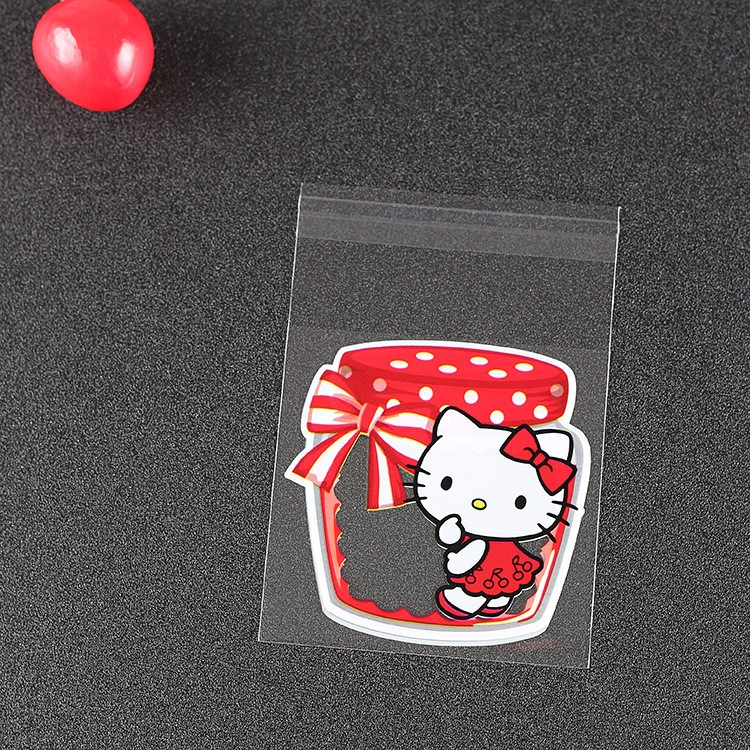 50pcs cute hello kitty Candy cookie dessert Bags Wedding Birthday Party Craft Self-adhesive OPP Biscuit Packaging Bags
