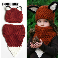 2017 New Kids Hats Scarf Set Winter Crochet Hat And Scarf For Boys Girls Bonnet Enfant