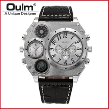 2016 Oulm 1349 Unisex Dual-movement Sports Mechanical Watch with GMT Dual Time Display Thermometer & Compass