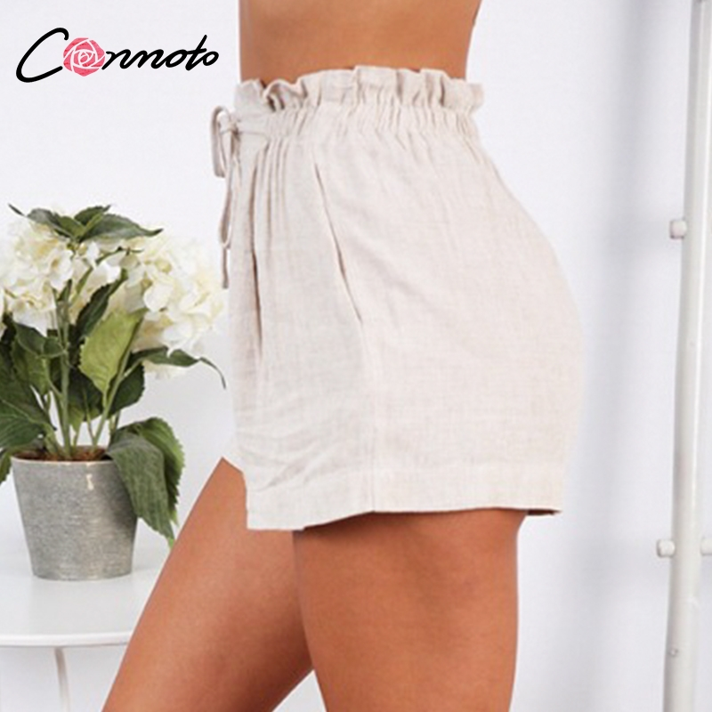 Image 4 - Conmoto Casual Beige Holiday Beach Lace up Thin Shorts Women 2019 Summer High Street Stylish Elastic Waist Girl Shorts Plus Size-in Shorts from Women's Clothing