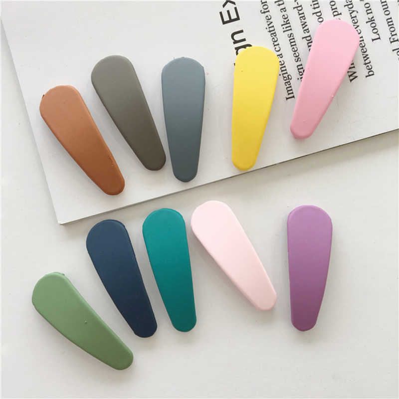 New Simple of Candy Color Geometric Shape 2pcs Matte Texture Hairpin Hair Jewelry BB Hair Clip Hairpin Styling Accessories