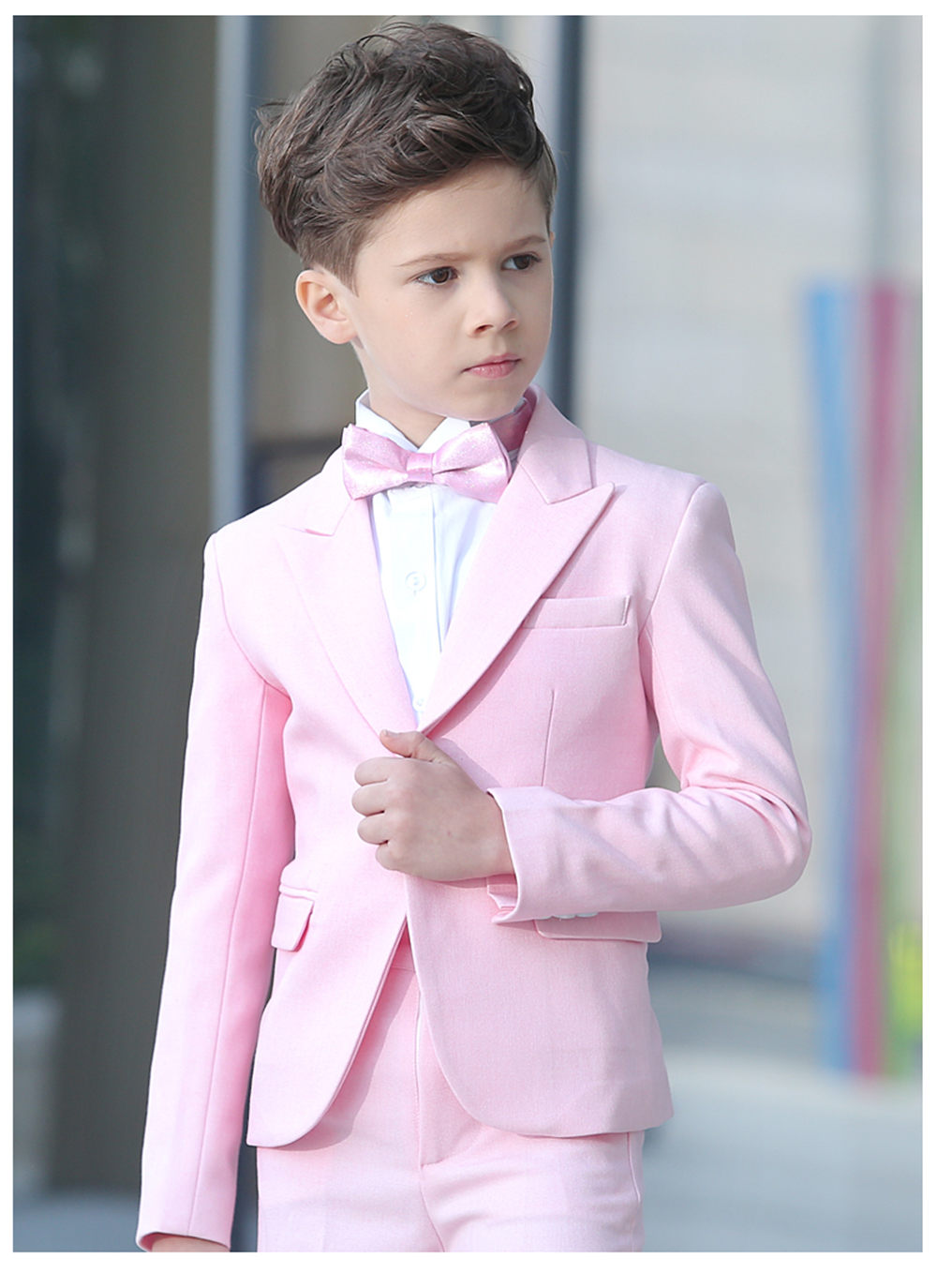 2019 slim fit Pink Kid Suit Children Wedding Suits Custom Made Blazer Boys suits Groom Tuxedo 2 Pieces(Jacket+Pants)