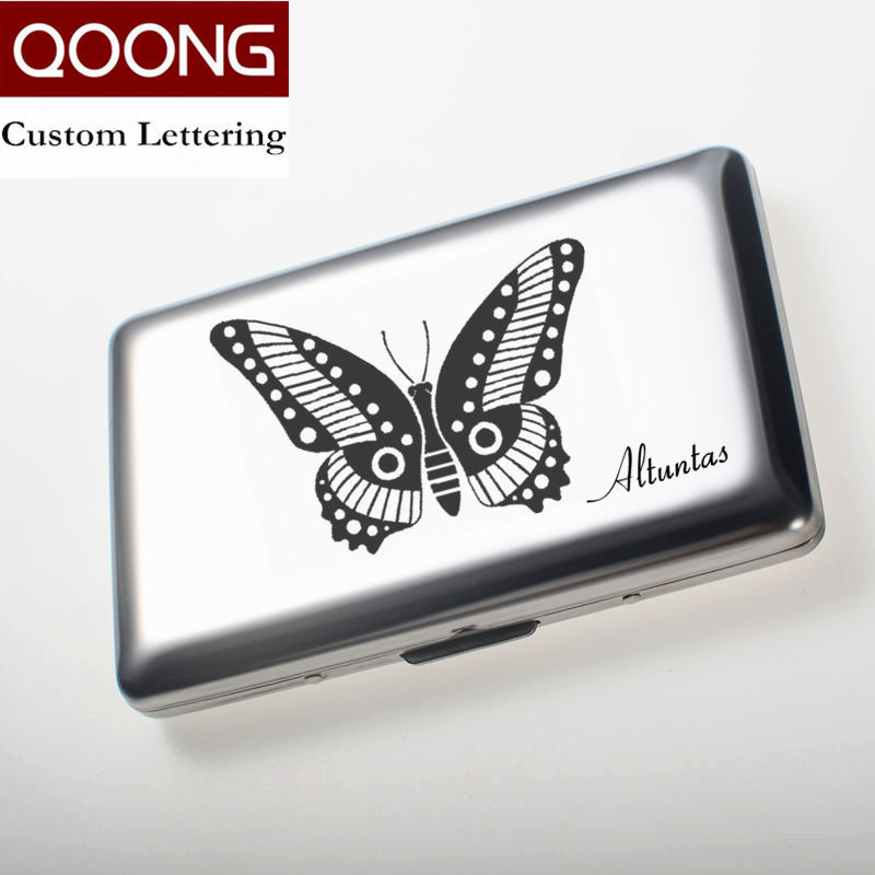 Qoong Rfid Blocking Stainless Steel Men Women Business