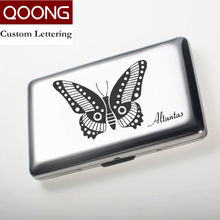 QOONG 2 in 1 Latest Stainless Steel RFID Blocking Credit Card Holder Case Box Men Women Business Wallet QZ42-023