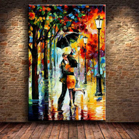 Modern Landscape Knife Oil Painting Tree Park Night Scene Lover Kissing On Canvas Home Wall Art Abstract Pictures For Room Decor