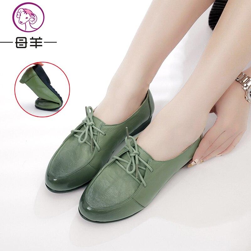 MUYANG MIE MIE Zapatos planos de cuero genuino de la mujer Moda - Zapatos de mujer - foto 3