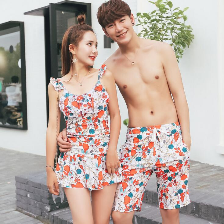 2019 Couple Swimsuit Women Bikini Men   Board     Shorts   Swimming Trunks Boxer Sweat Beach swimwear Man Surfing Boardshort XXXL