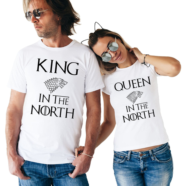 c8f6a38256 Game of Thrones King Queen In The North T Shirts Valentine Men Women Couple  Clothes Lovers T-Shirts Funny Tshirts Tops Tees