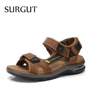 Image 1 - SURGUT แบรนด์ขายร้อนแฟชั่นฤดูร้อนรองเท้าแตะชายหาดรองเท้าผู้ชาย Hollow คุณภาพสูงรองเท้าแตะหนังแท้รองเท้าแตะ