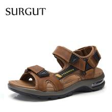 SURGUT marka sıcak satış yaz moda plaj sandaletleri erkek ayakkabısı içi boş yüksek kaliteli sandalet açık hakiki deri konfor sandalet