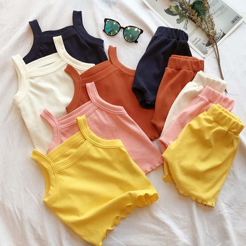 Celveroso Casual Girls Clothing Sets Summer Kids Baby Girls Sleeveless Sling Vest Tops +Shorts 2Pcs Children Cotton Cloth Suits