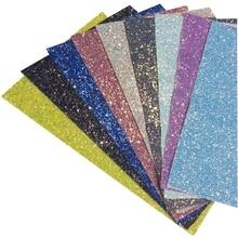 3Pcs 20*30cm Rainbow chunky glitter DIY Synthetic leather fabric hair bow diy decoration crafts fabaric sheet