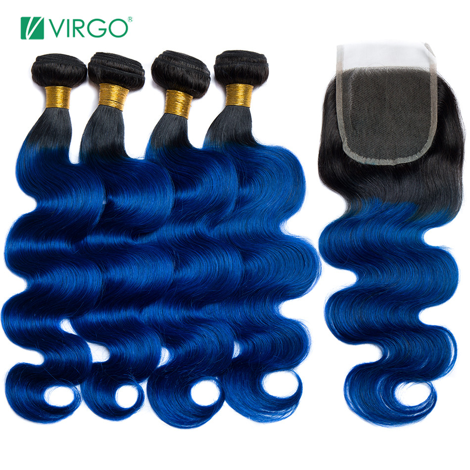 Virgo Hair Ombre Bundles With Closure 1B / Blue Two Tone Human Hair Brazilian Body Wave Hair 3 / 4  Bundles With Closure Remy