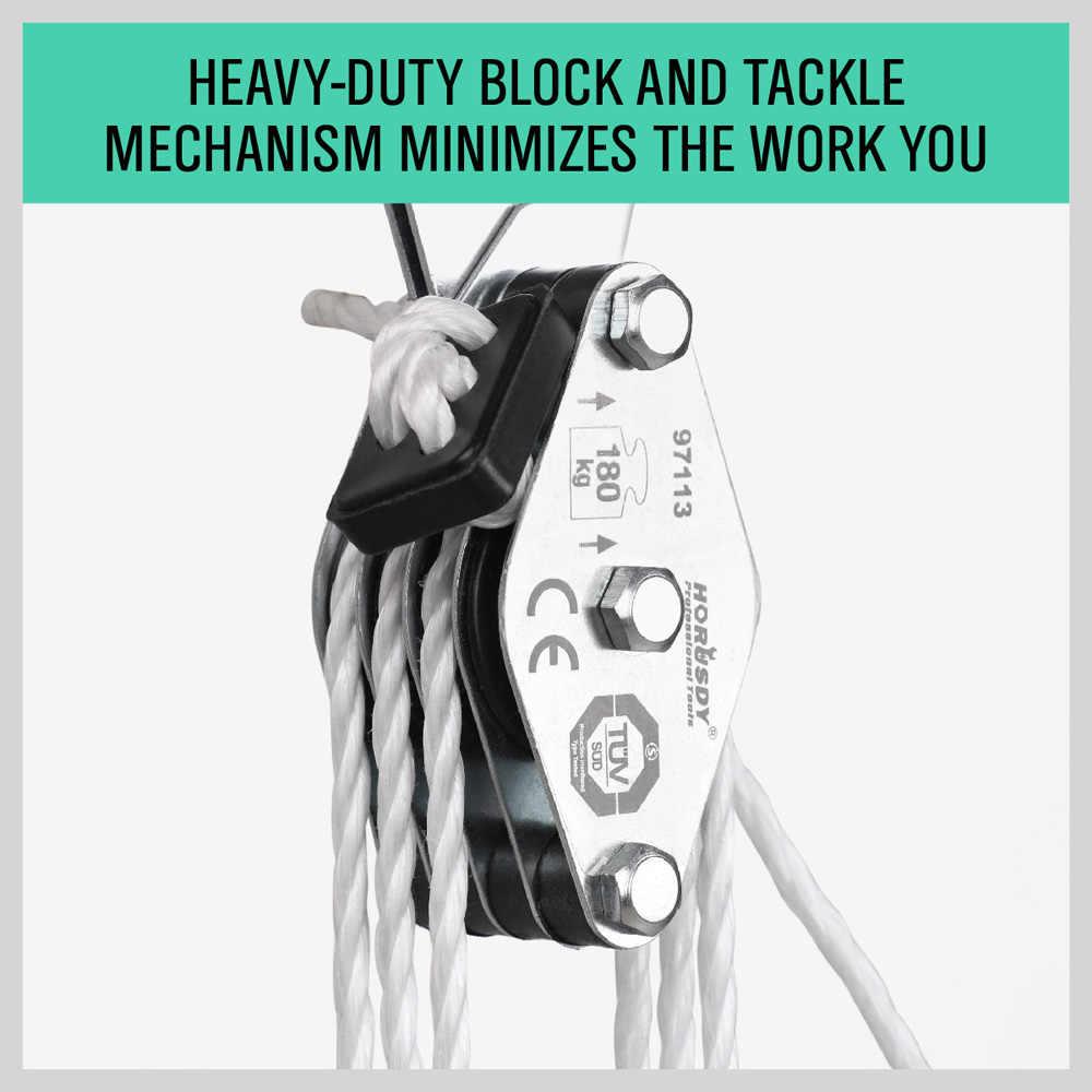 HORUSDY 180 кг лебедка из нержавеющей стали грузовой подъемный комплект натяжных роликов экономия труда лебедка двойной 4 шкив с канавкой экономия труда подъемный инструмент